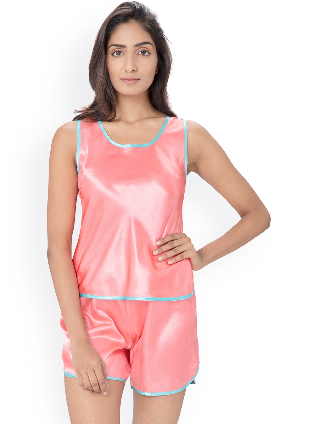 d2e29c0525 Buy PrettySecrets Pink Satin Nightsuit PS1216SSTS01 - Night Suits ...