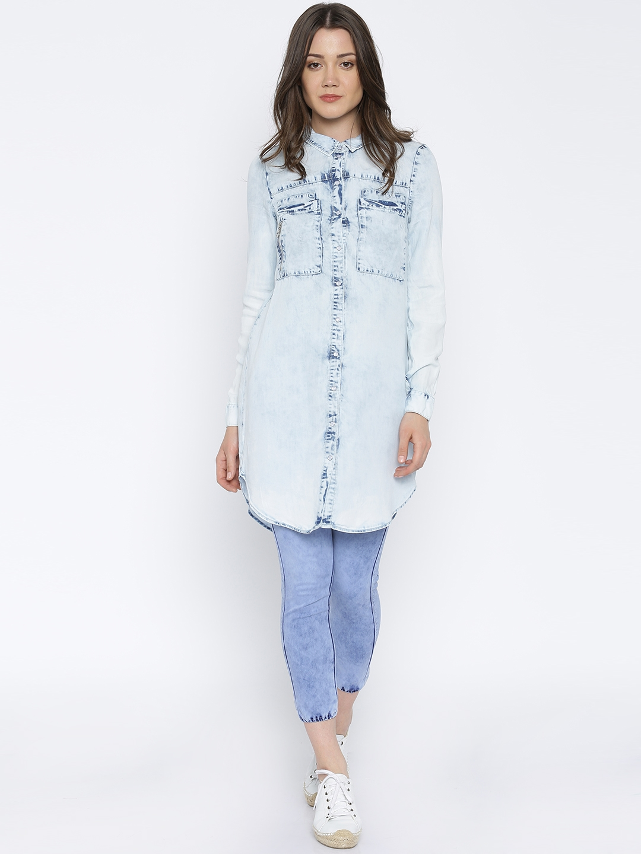 finest selection e5c21 21dea Vero Moda Women Blue Denim Washed Longline Shirt