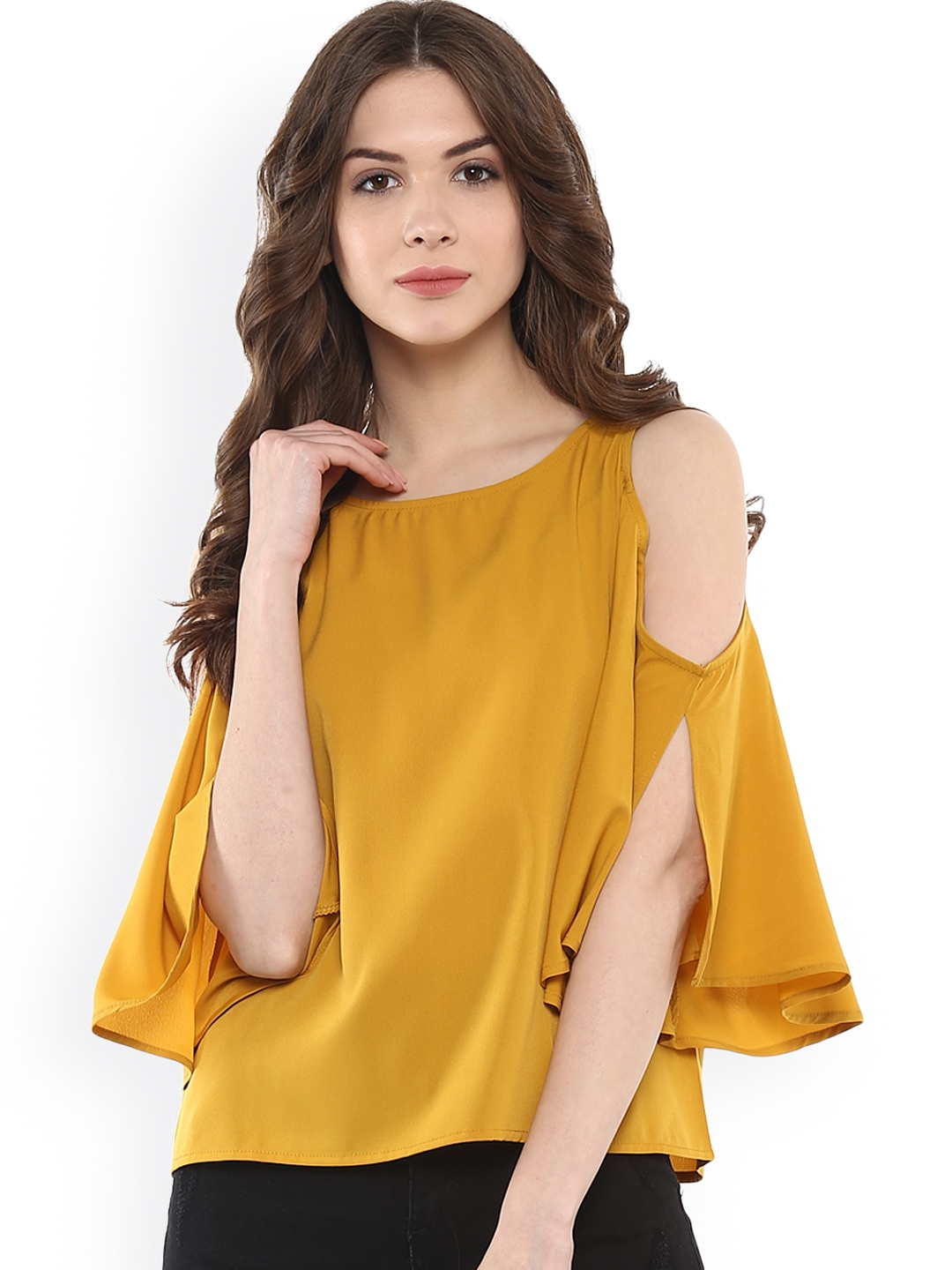 7f2595f9af91c1 Buy Harpa Mustard Yellow Cold Shoulder Top - Tops for Women 1760293 ...