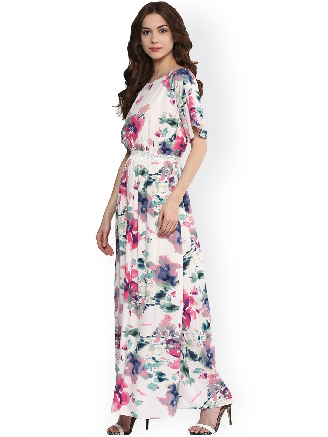 ff74127581a7 Buy Harpa Women Off White Floral Print Maxi Dress - Dresses for ...