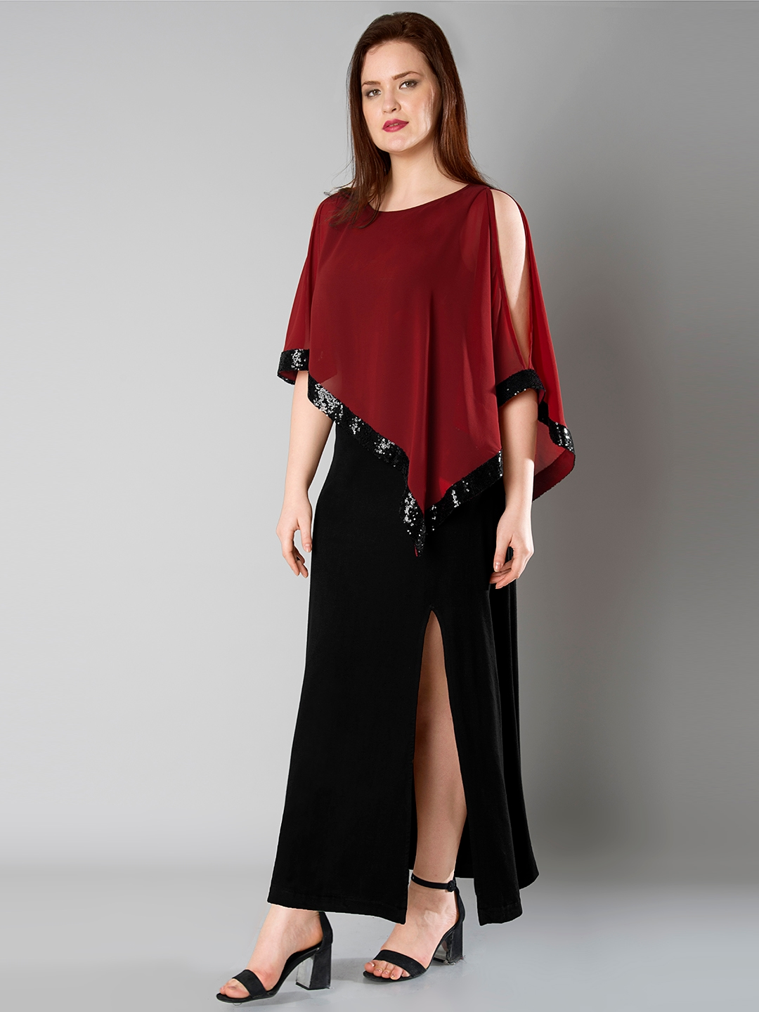 469bf695cb2 Buy FabAlley Curve Women Red   Black Sequinned Cape Maxi Dress ...