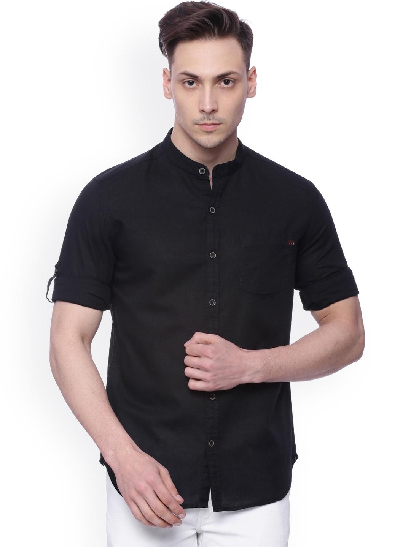 LOCOMOTIVE Men Black Slim Fit Solid Casual Shirt