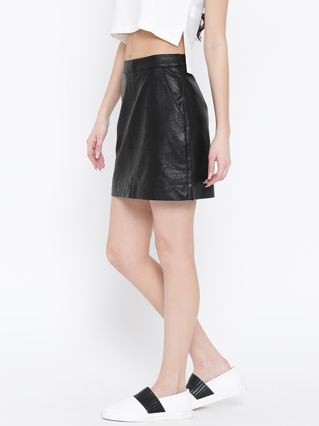 ab84e05082 Buy FOREVER 21 Black Faux Leather Mini A Line Skirt - Skirts for ...