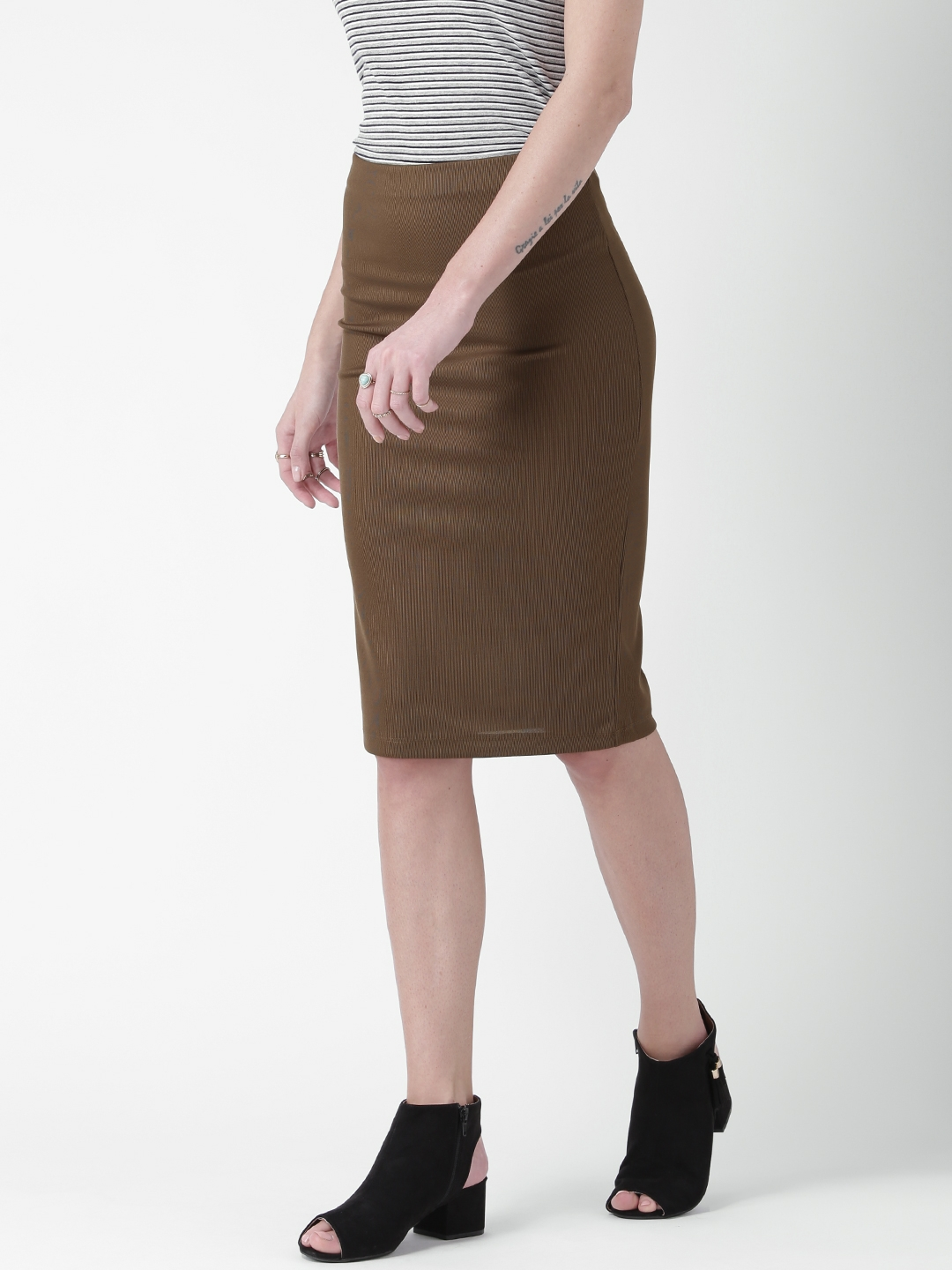 aebc0c40a9 Buy FOREVER 21 Olive Brown Pencil Skirt - Skirts for Women 1762498 ...