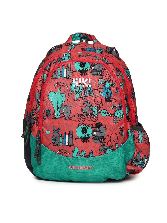 Buy Wildcraft Kids Pink Green Wiki Zoo 2 Printed Backpack
