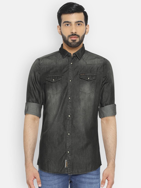 3fcdf46dc8 Buy Being Human Clothing Men Black Solid Denim Shirt - Shirts for ...