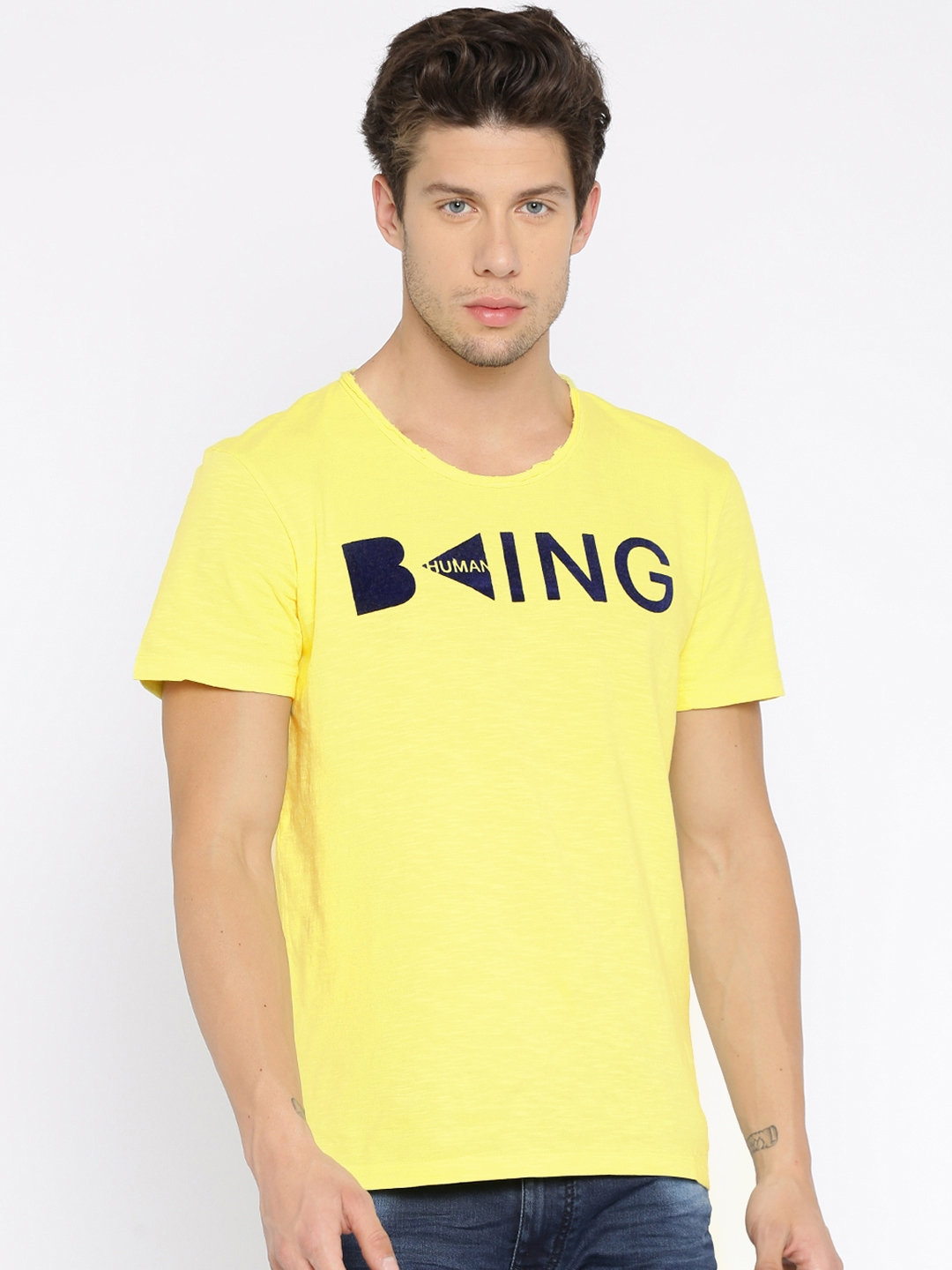 561911d6ad634d Buy Being Human Clothing Men Yellow Printed Round Neck T Shirt ...
