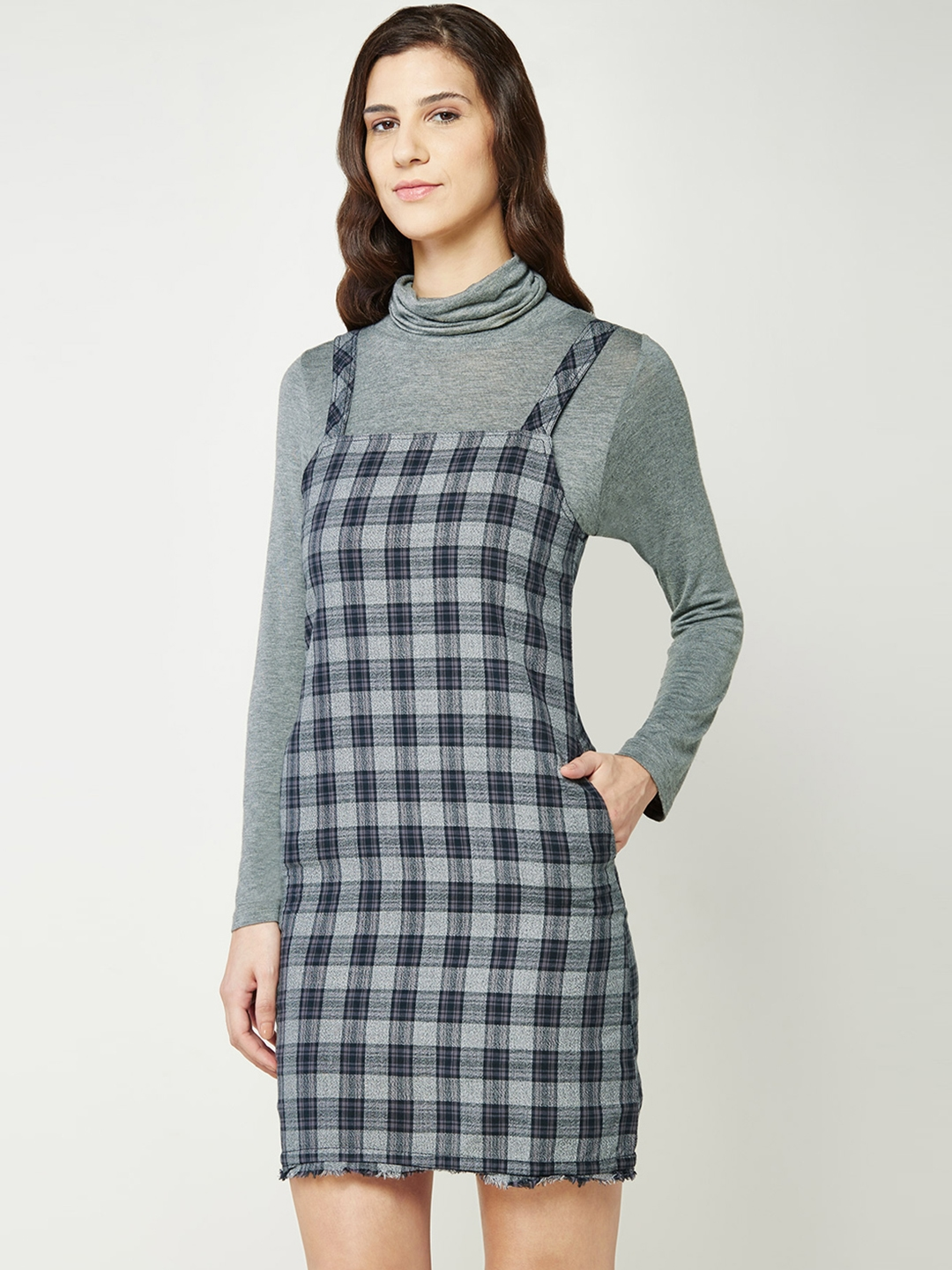 b38d4d0318 Buy AND Women Grey   Black Checked Dungaree Dress - Dresses for Women  1766119