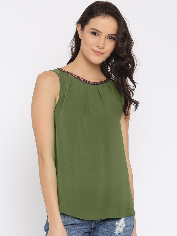 008e9cc7770624 Buy Vero Moda Women Olive Green Solid Sleeveless Top - Tops for ...