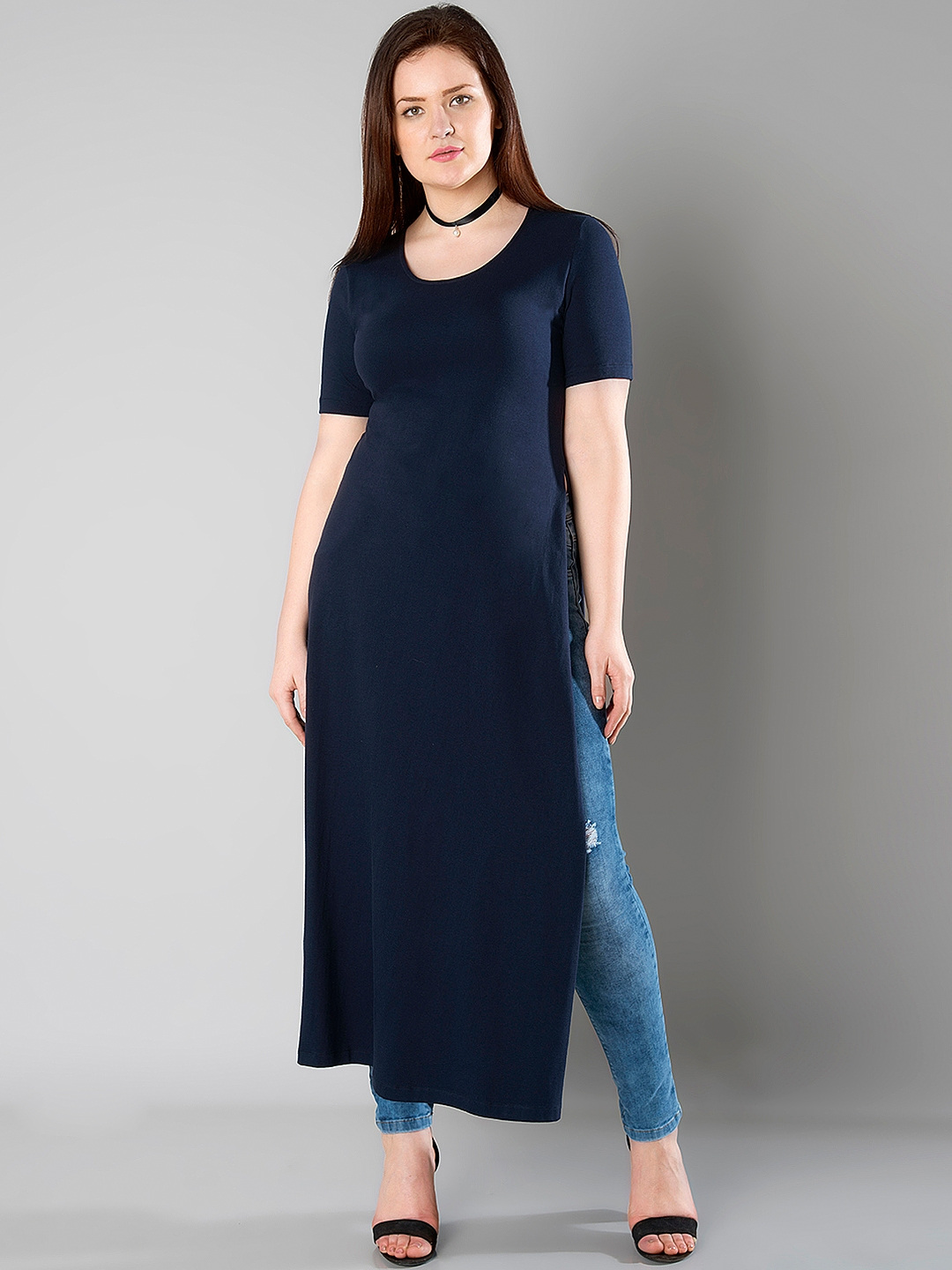 79af41f3250bb Buy FabAlley Curve Navy Maxi Top - Tops for Women 1767344