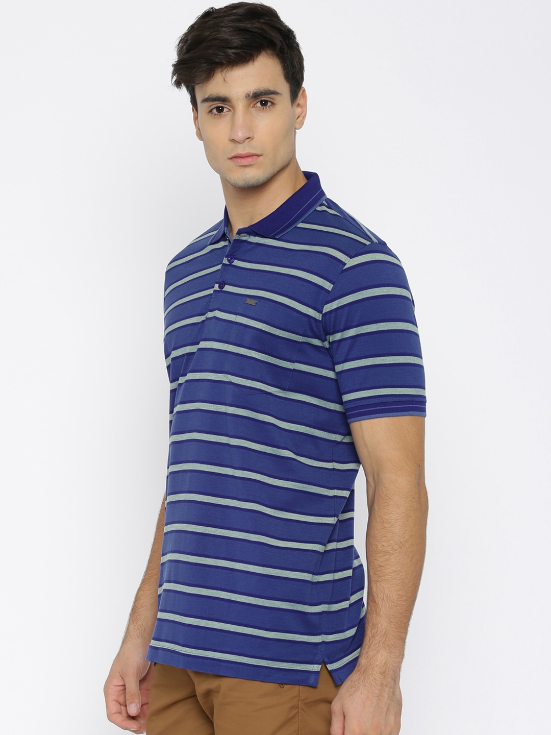 55dbfbed Buy Park Avenue Men Blue Striped Slim Fit Polo T Shirt - Tshirts for ...