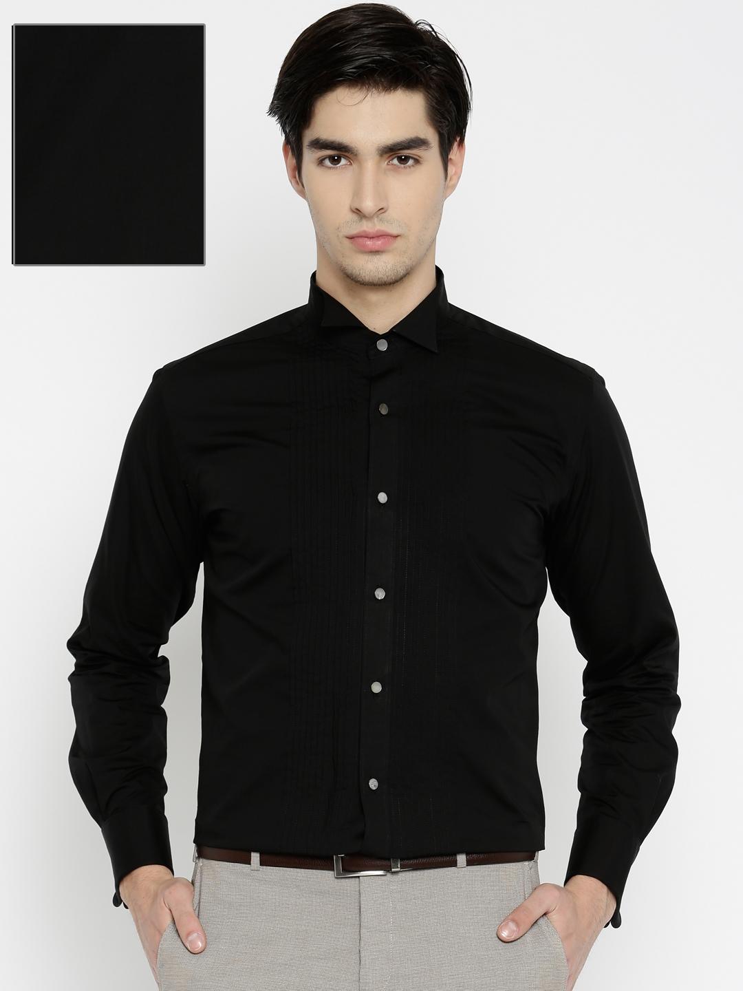 Buy Raymond Men Black Contemporary Regular Fit Formal Shirt ...