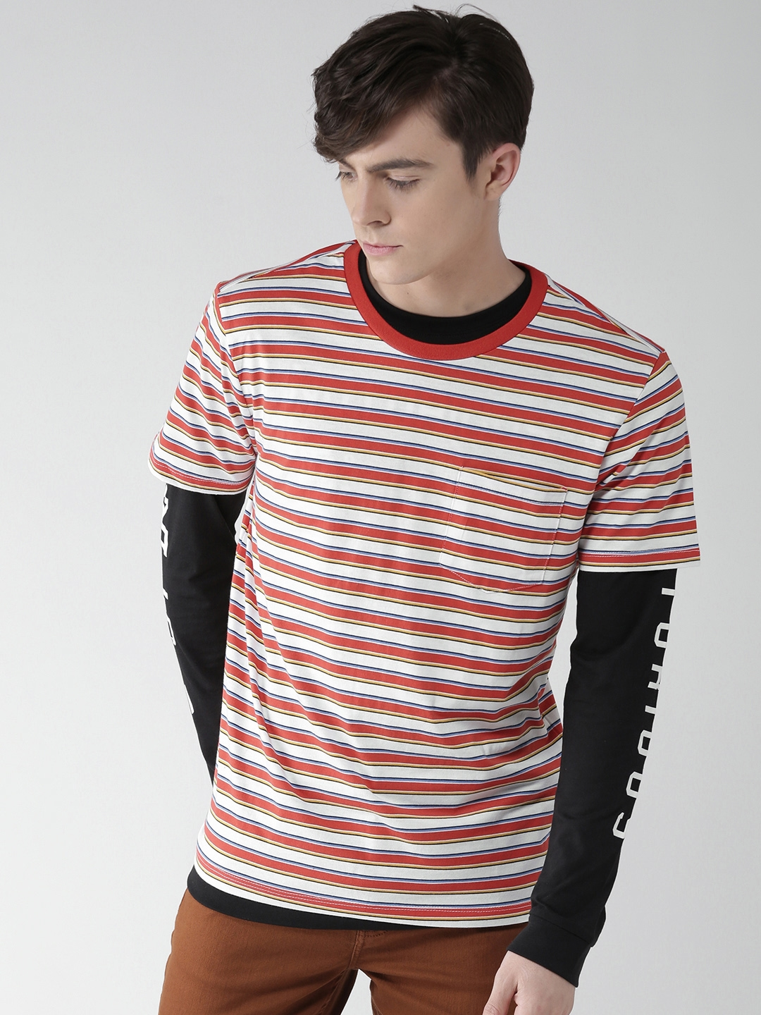 468ed394a0de Buy FOREVER 21 Men White & Red Striped Round Neck T Shirt - Tshirts ...