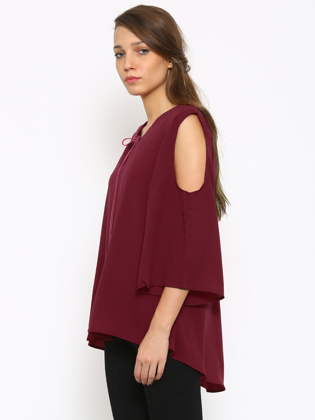 26fa633259d91a Buy Deal Jeans Women Maroon Cold Shoulder High Low Top - Tops for ...