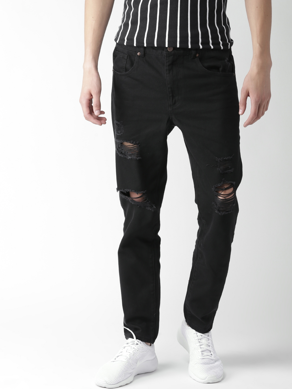 buy forever 21 men black mid rise mildly distressed jeans jeans