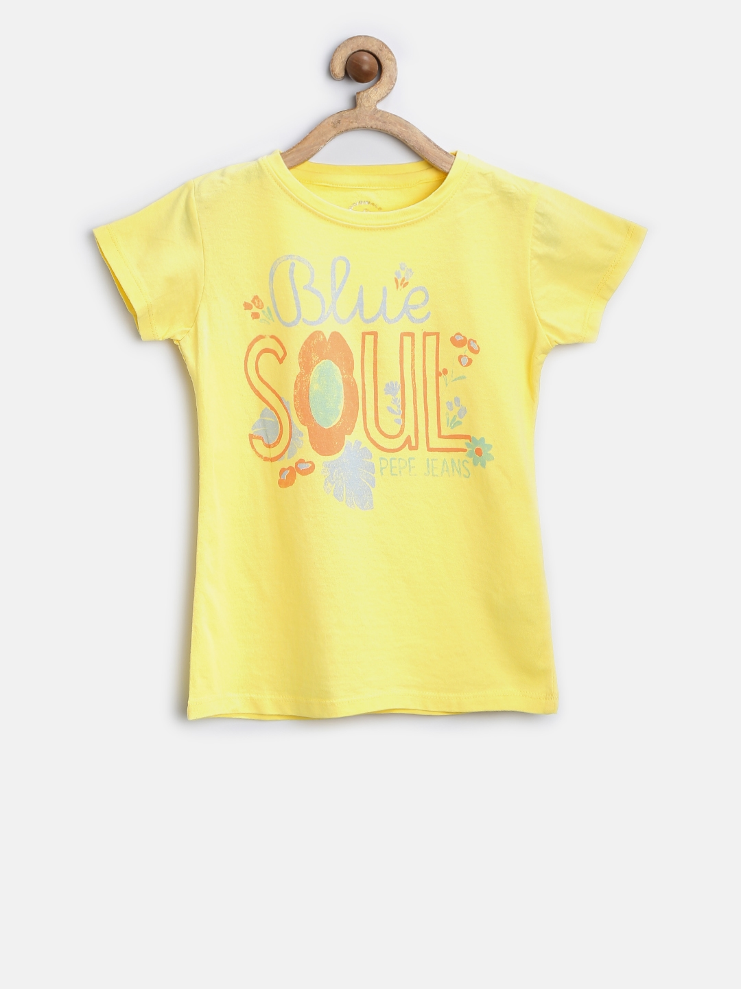 Buy Pepe Jeans Girls Yellow Printed Round Neck T Shirt Tshirts For