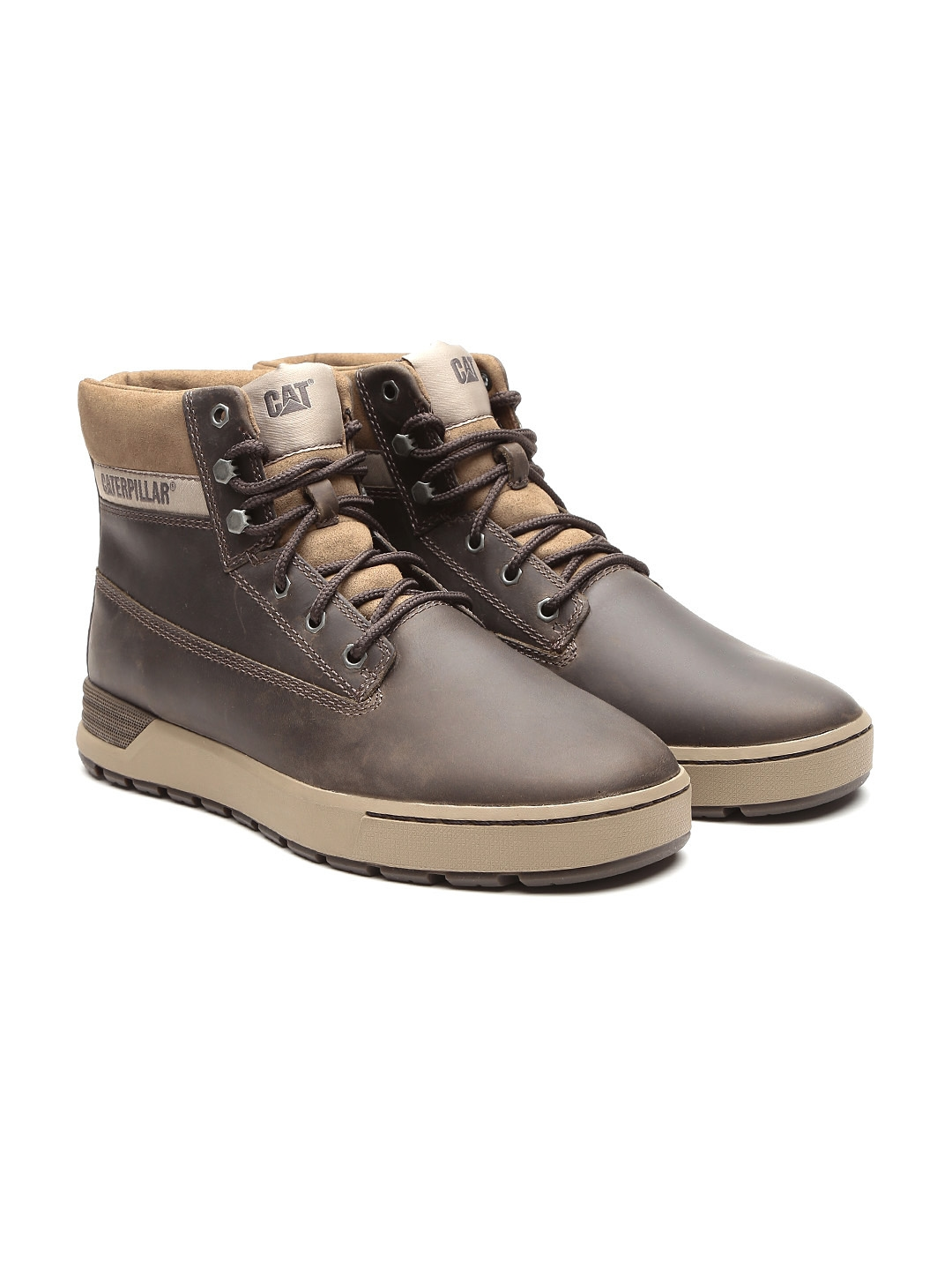 0ae87115f88 Buy CAT Men Olive Brown High Top Leather Flat Boots - Casual Shoes ...