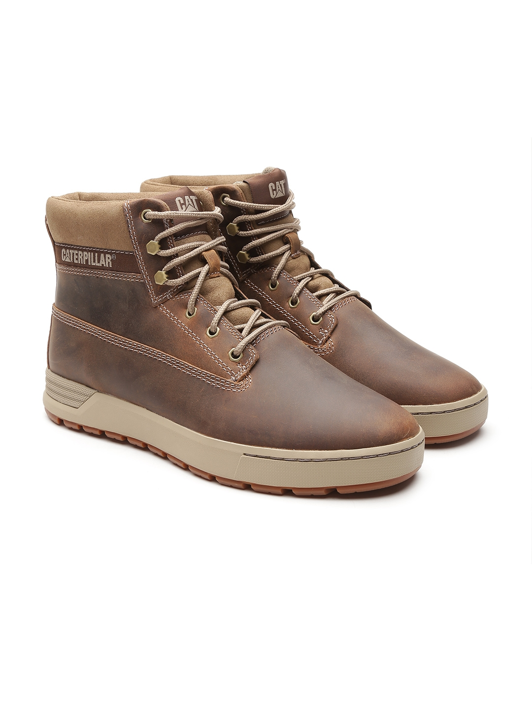 7505ed45a4a Buy CAT Men Brown Solid Leather High Top Flat Boots - Casual Shoes ...