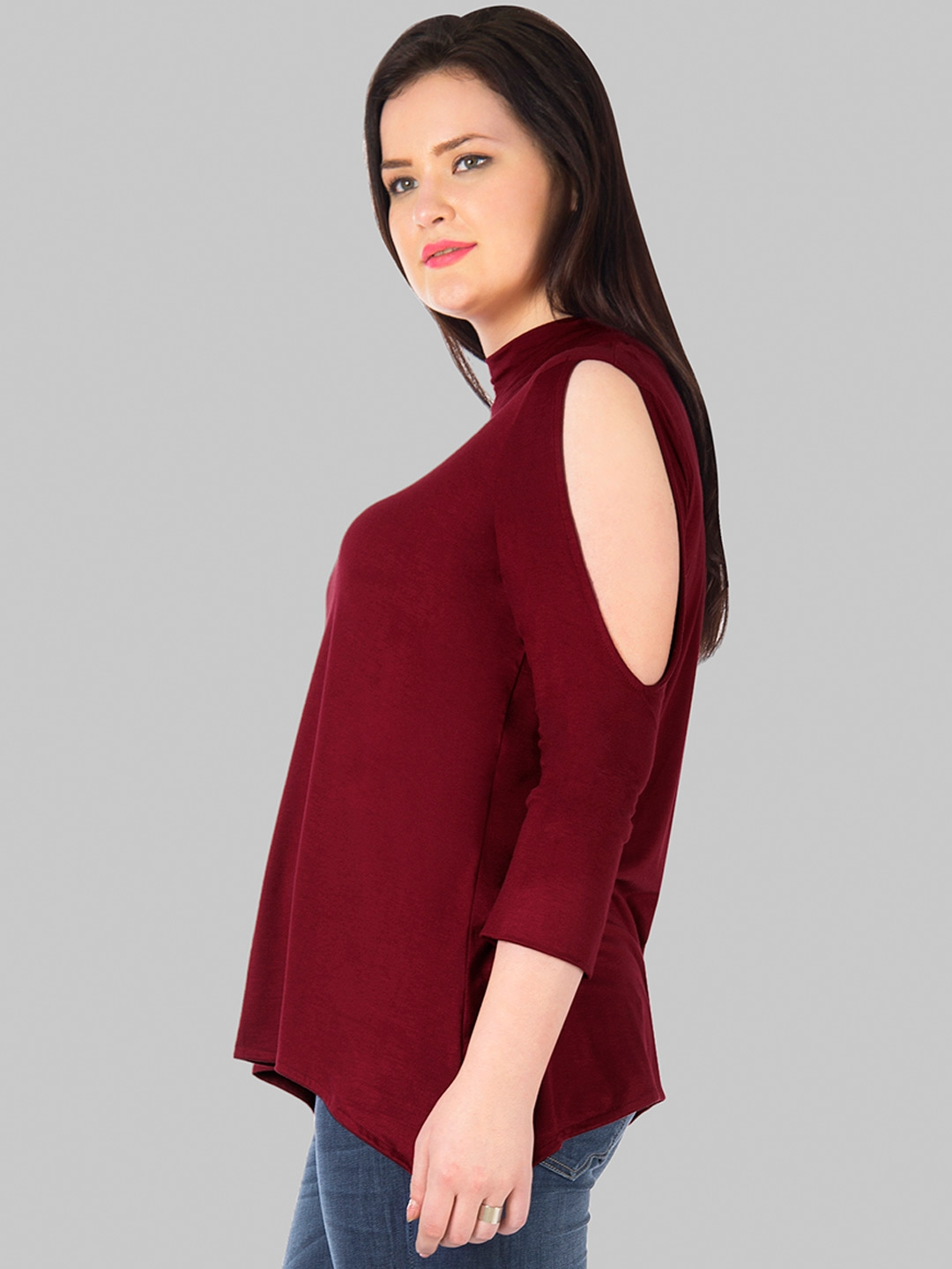1be937f523320 Buy FabAlley Curve Maroon Cold Shoulder Top - Tops for Women 1773909 ...