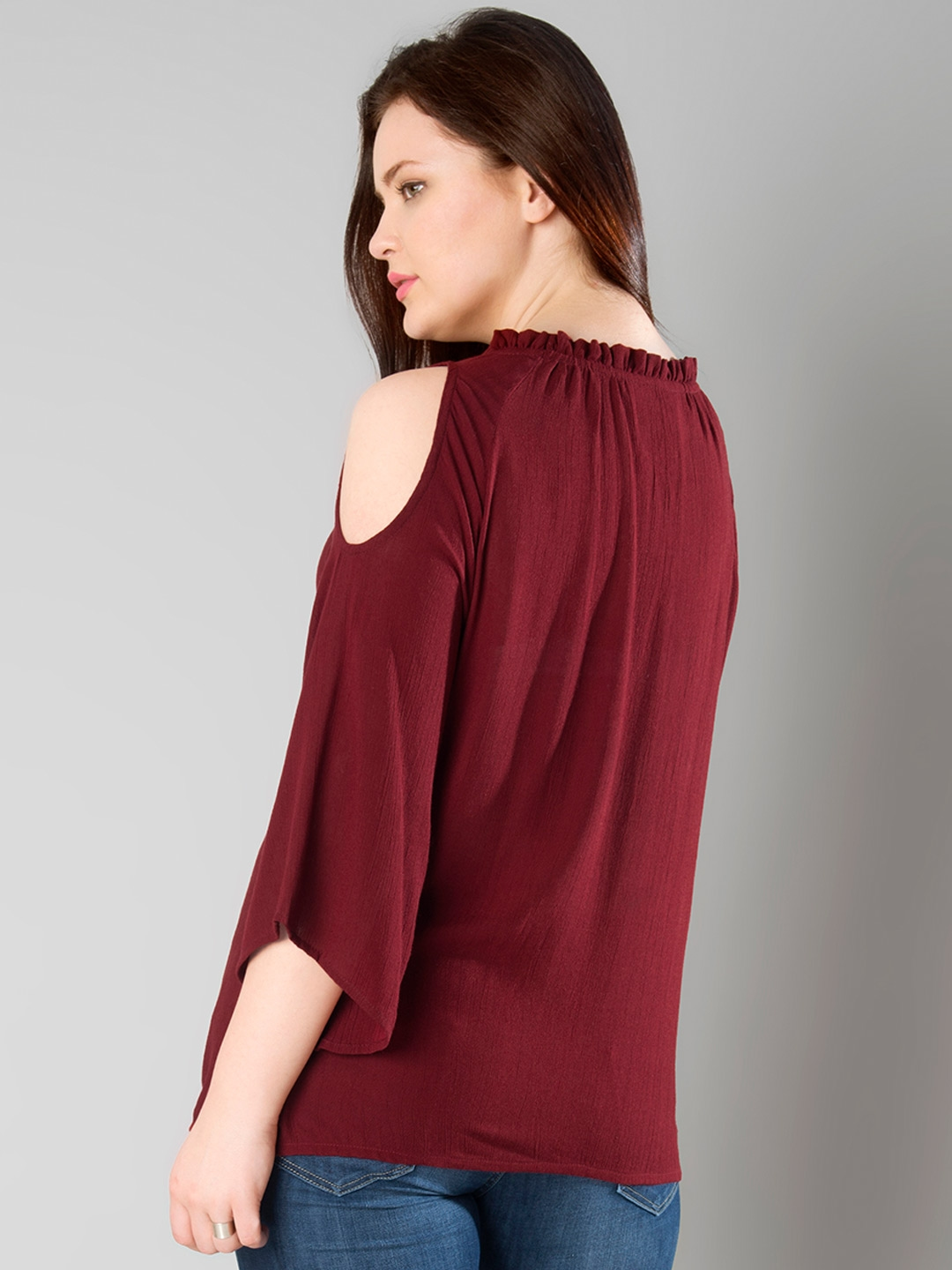 c97d2eacd5222 Buy FabAlley Curve Maroon Cold Shoulder Top - Tops for Women 1773914 ...