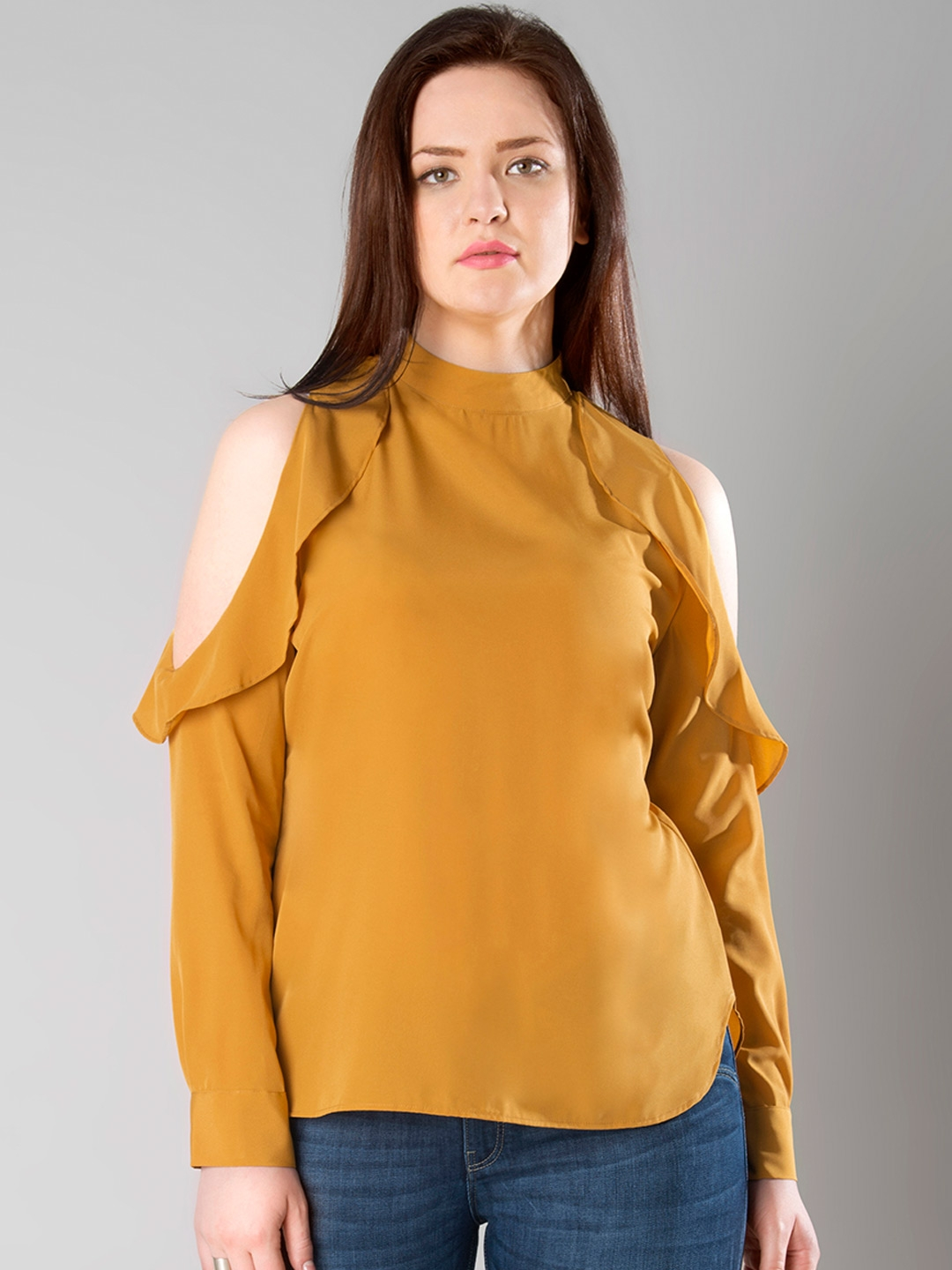4eccb470795ed Buy FabAlley Curve Mustard Yellow Cold Shoulder Top - Tops for Women ...