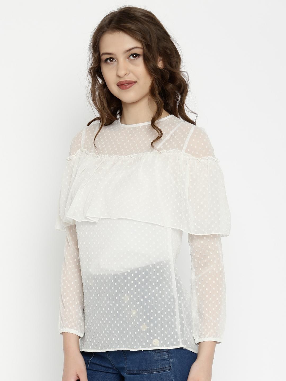 7f413cce3 Buy SASSAFRAS Women Off White Swiss Dot Layered Sheer Top - Tops for ...