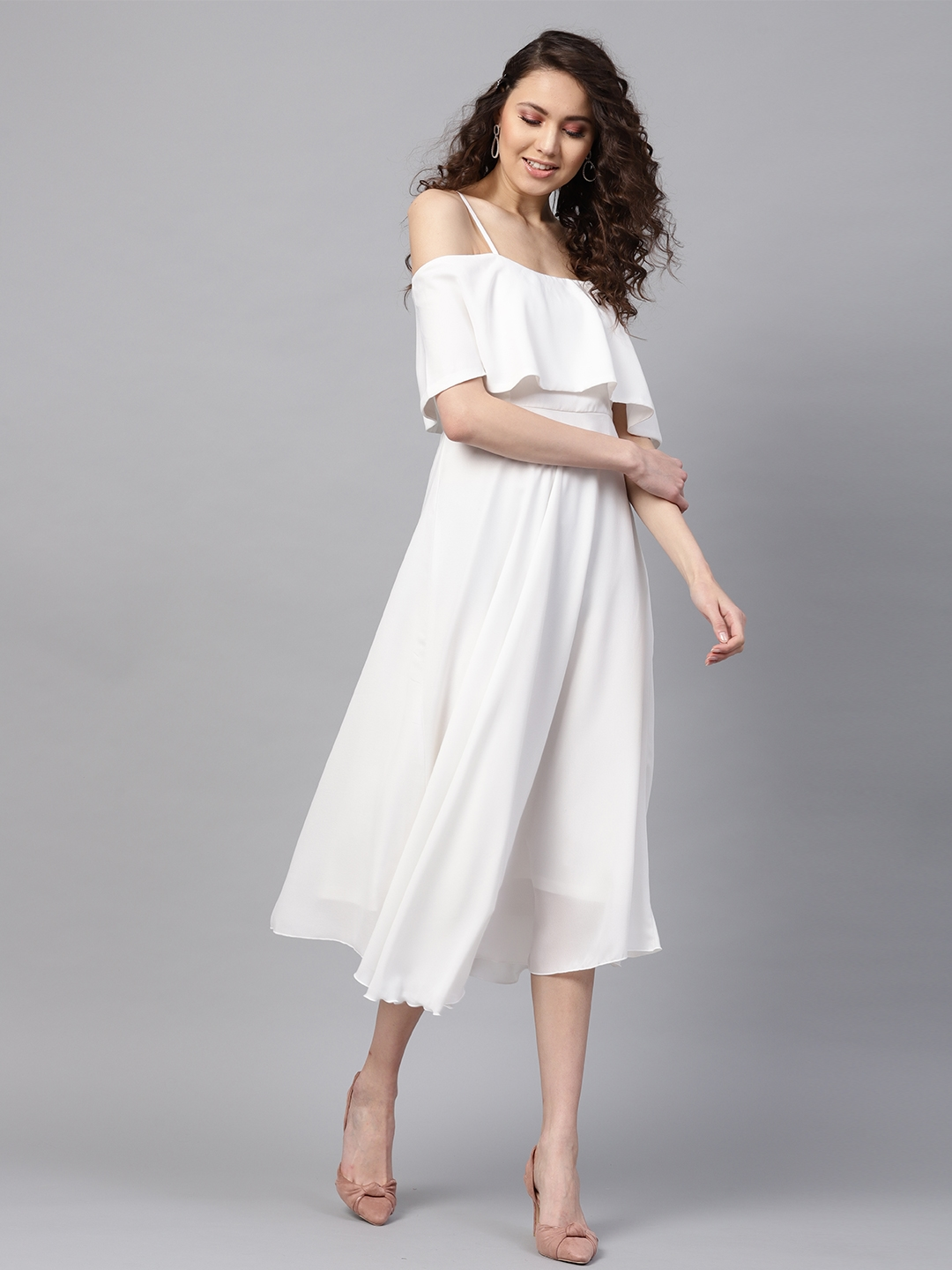 df3a287f6 Buy SASSAFRAS Women White Solid Off Shoulder Midi Fit   Flare Dress -  Dresses for Women 1774648