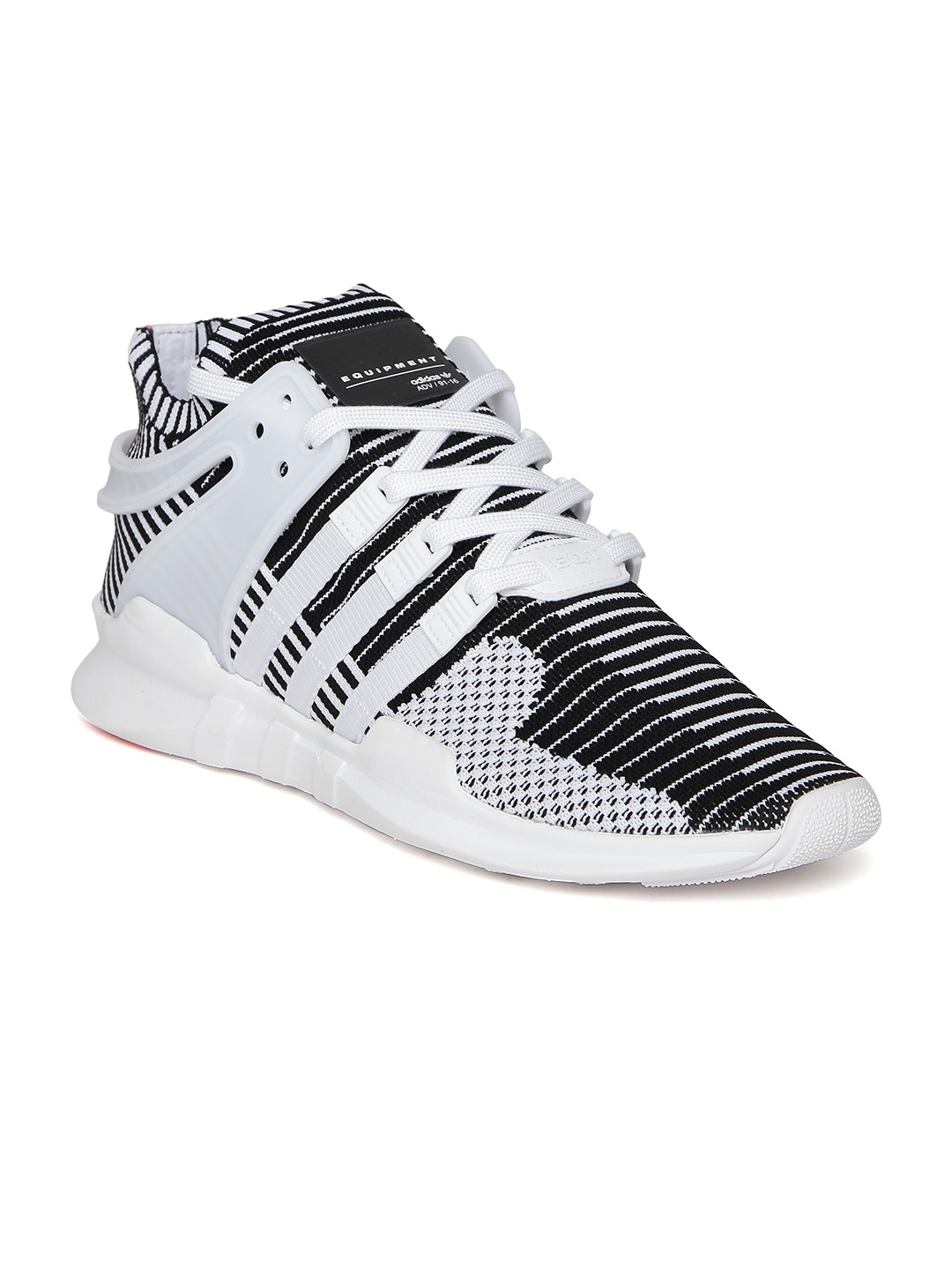9a8725d09389e2 ADIDAS Originals Men White   Black EQT Support ADV Primeknit Woven Sneakers