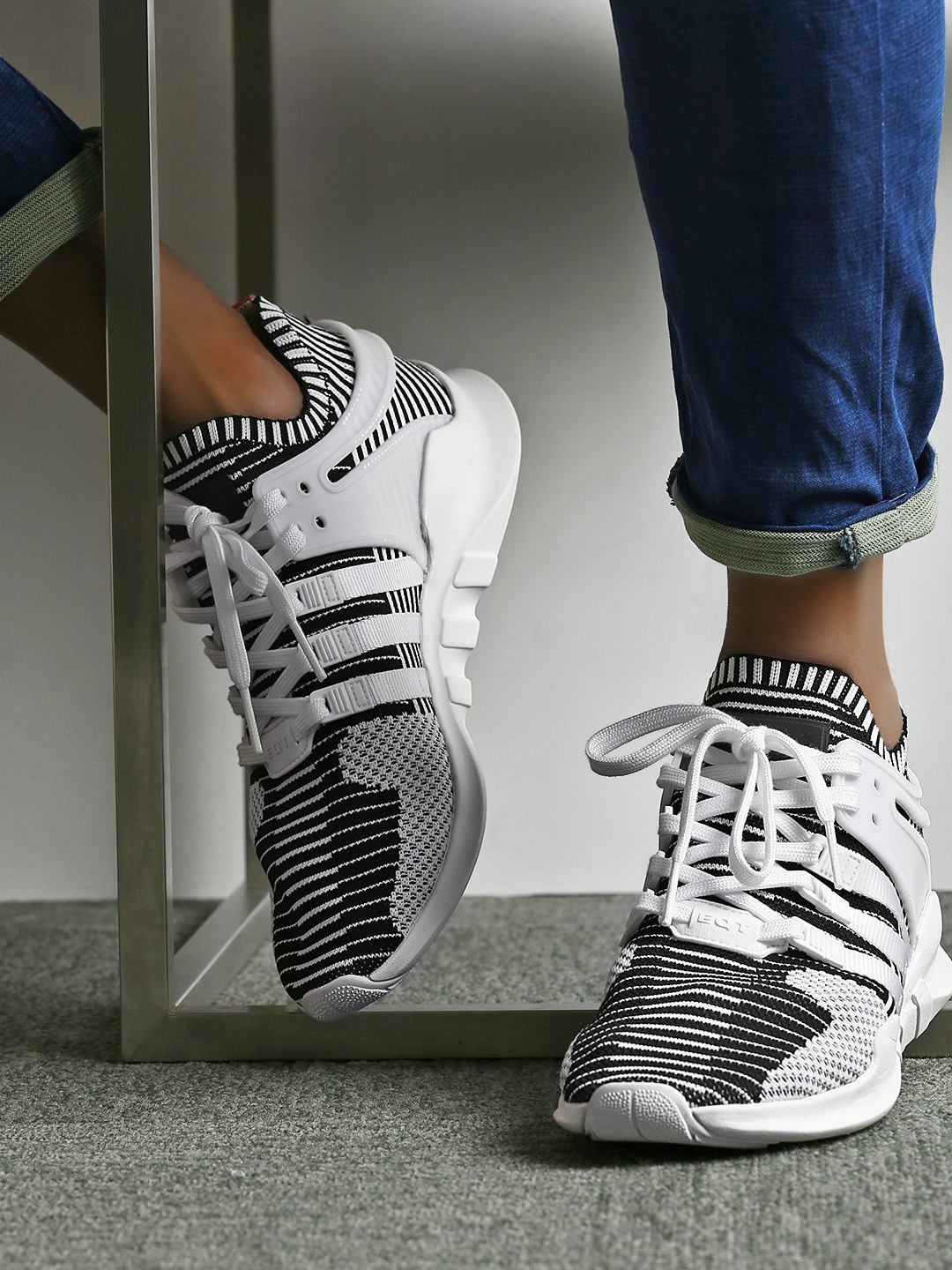 lowest price d6f50 02445 ADIDAS Originals Men White & Black EQT Support ADV Primeknit Woven Sneakers