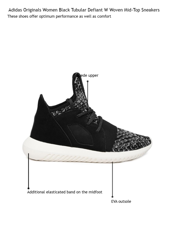 differently dfe21 29c2e ADIDAS Originals Women Black Tubular Defiant W Woven Mid-Top Sneakers