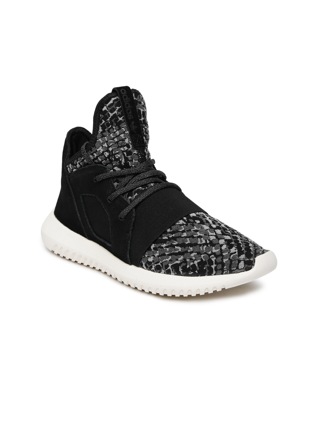 differently 29b7b 9091a ADIDAS Originals Women Black Tubular Defiant W Woven Mid-Top Sneakers