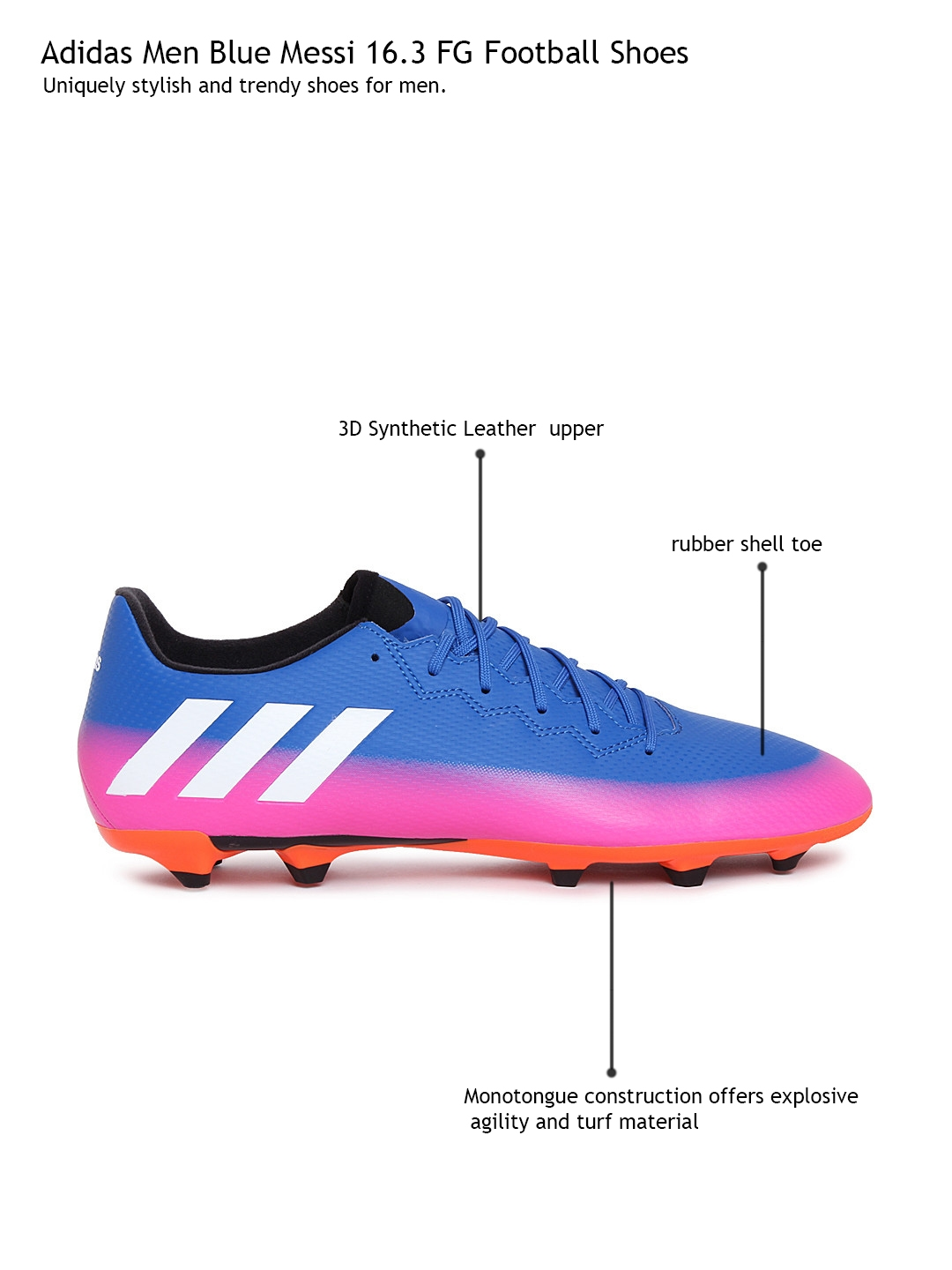 uk availability 8394f 2f608 Buy ADIDAS Men Blue Messi 16.3 FG Football Shoes - Sports Shoes for Men  1775219  Myntra