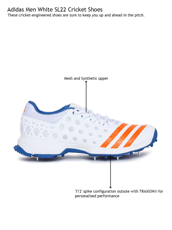 timeless design cea42 8f3db ADIDAS Men White SL22 Cricket Shoes