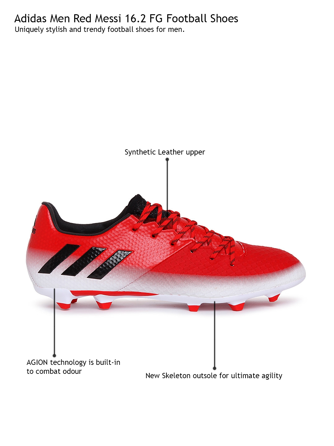 4a7b5cfc73b Buy ADIDAS Men Red Messi 16.2 FG Football Shoes - Sports Shoes for ...