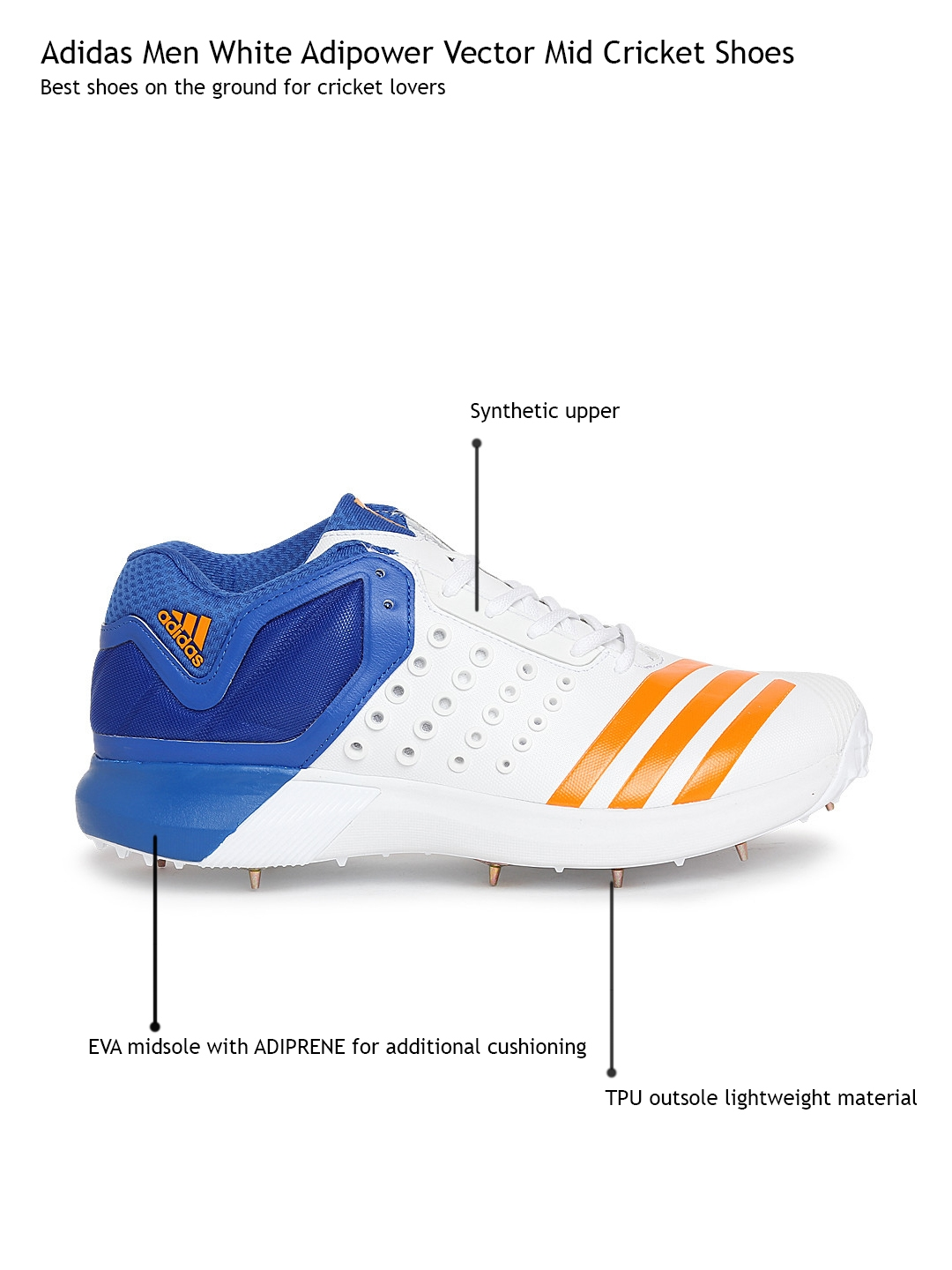 60769e98774bb6 Buy ADIDAS Men White Adipower Vector Mid Cricket Shoes - Sports ...