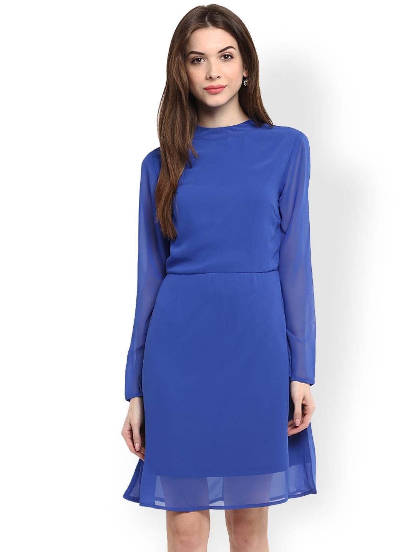 Harpa Women Blue Solid A Line Dress