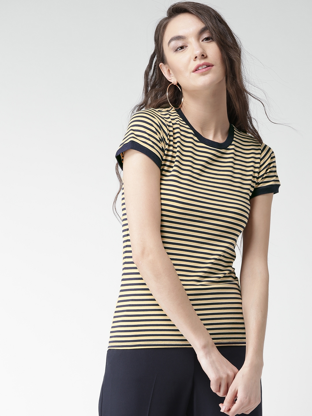 Buy Forever 21 Women Navy Yellow Striped Round Neck T Shirt