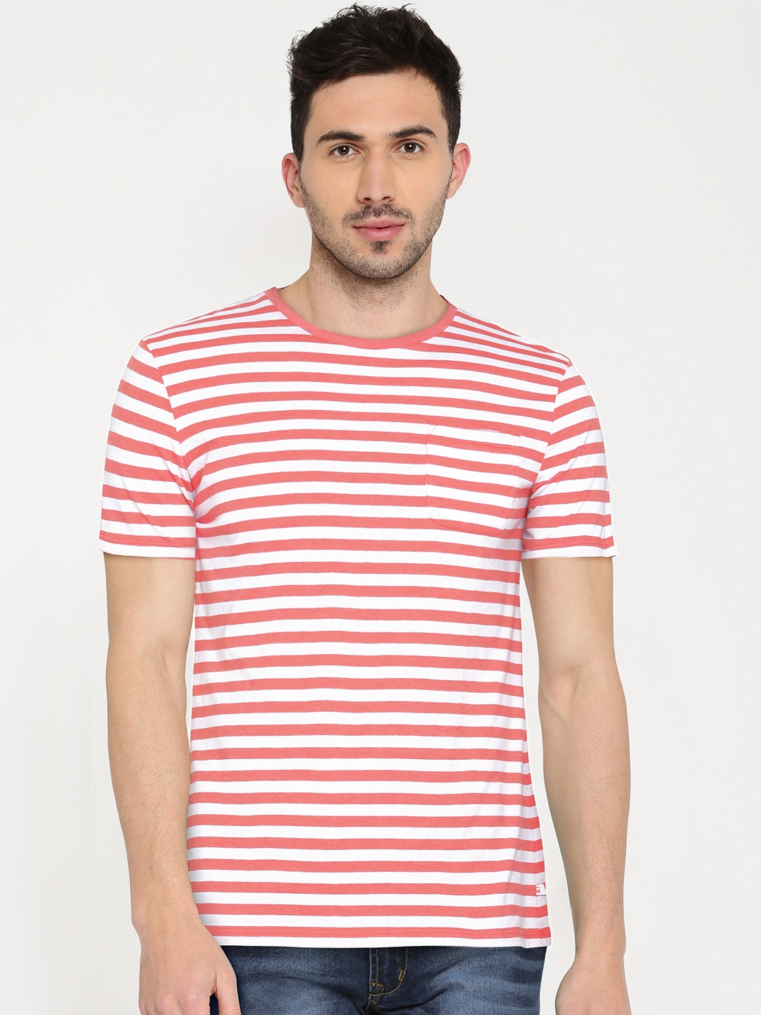 243c183e6d Buy United Colors Of Benetton Men White Striped Round Neck T Shirt ...