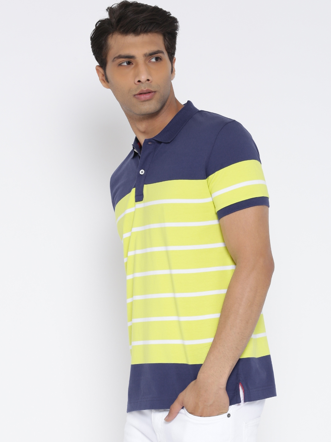 5aa6a4b7979 Buy United Colors Of Benetton Men Navy   Yellow Striped Polo Collar ...