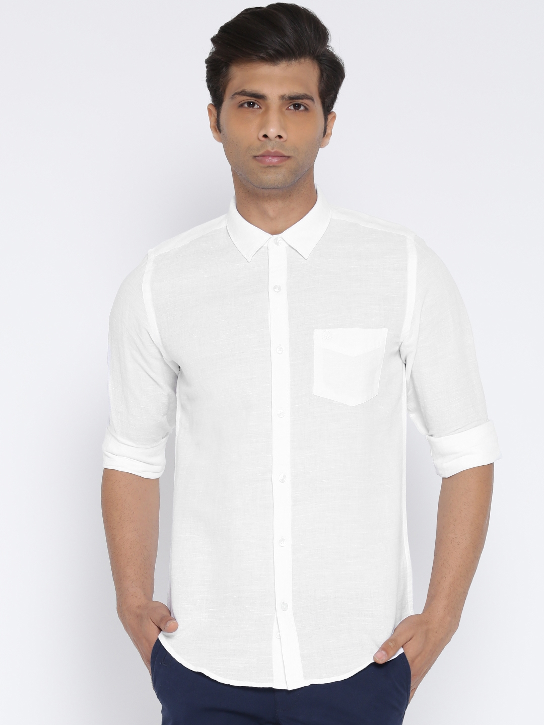 United Colors of Benetton Men White Solid Casual Shirt