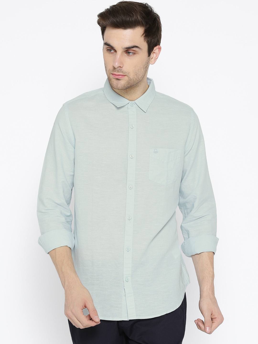 United Colors of Benetton Men Blue Solid Casual Shirt