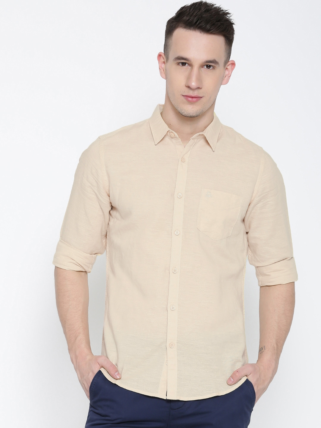 United Colors of Benetton Men Beige Solid Casual Shirt