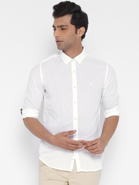 United Colors of Benetton Men White Self Design Casual Shirt