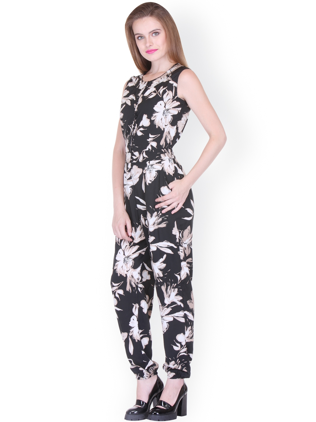 b5abbd4adf21 Buy Zastraa Black Floral Print Jumpsuit - Jumpsuit for Women 1781120 ...