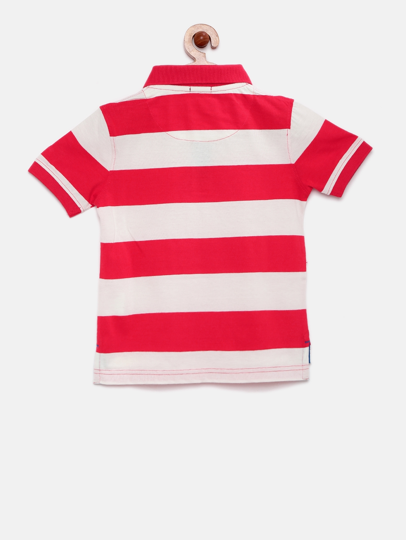 7ac4ed30100 Buy Indian Terrain Boys Red   White Striped Polo Collar T Shirt ...