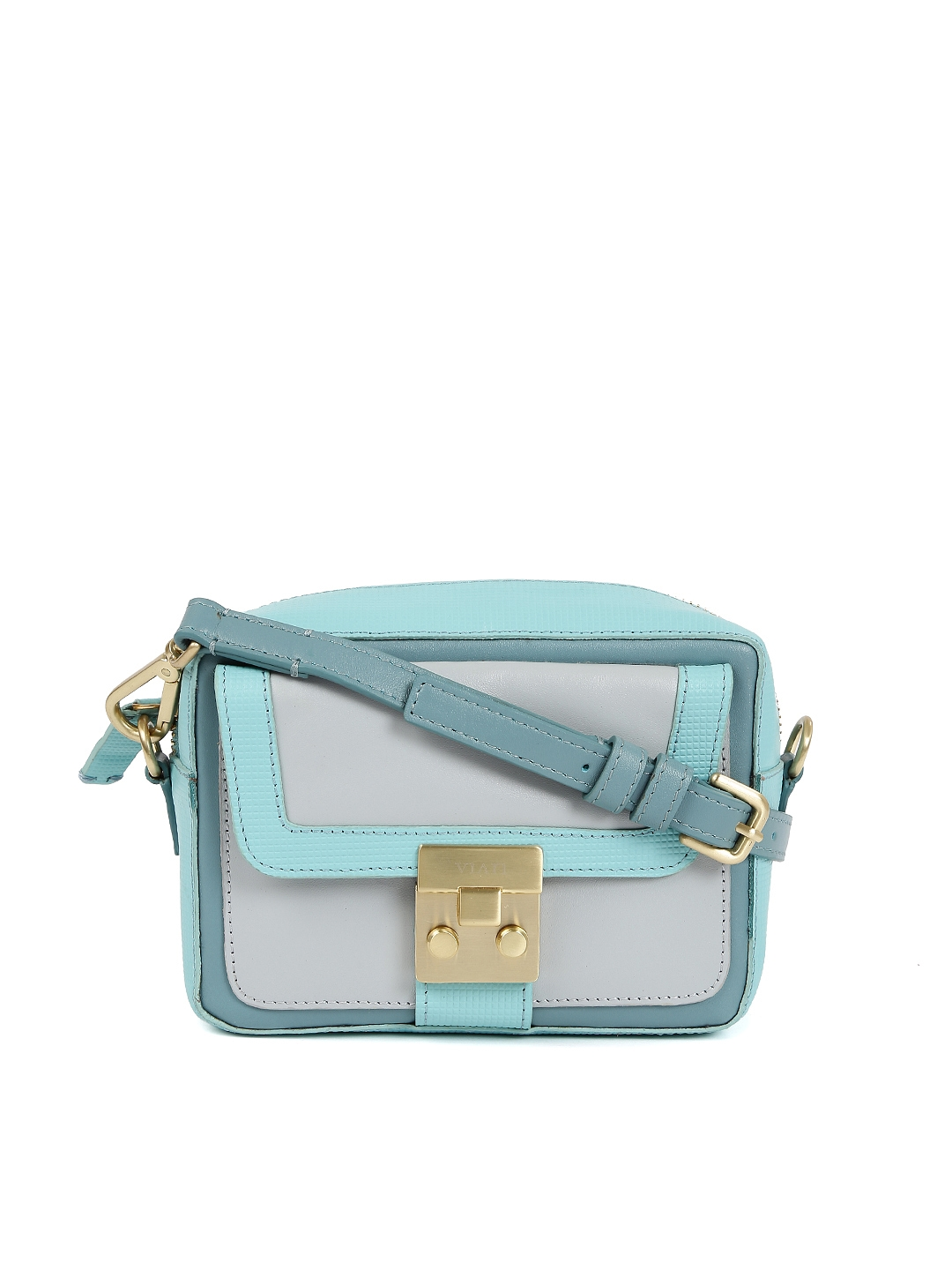 c3ae56c19a7 Buy VIARI Blue & Grey Colourblocked Murano Leather Sling Bag ...