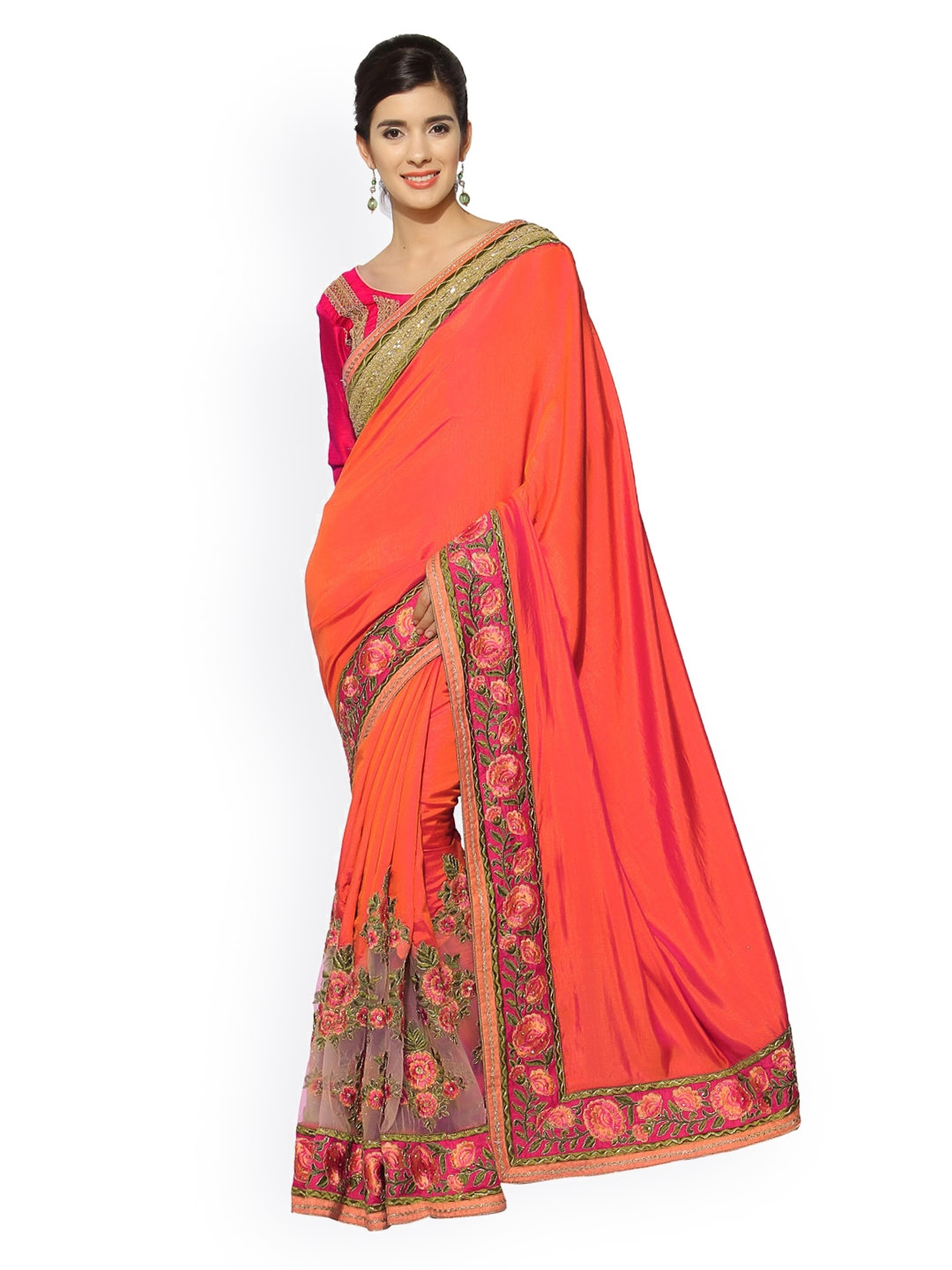 d3f0465e7bd46 Buy Indian Women Orange Embroidered Paper Silk Embellished Saree ...