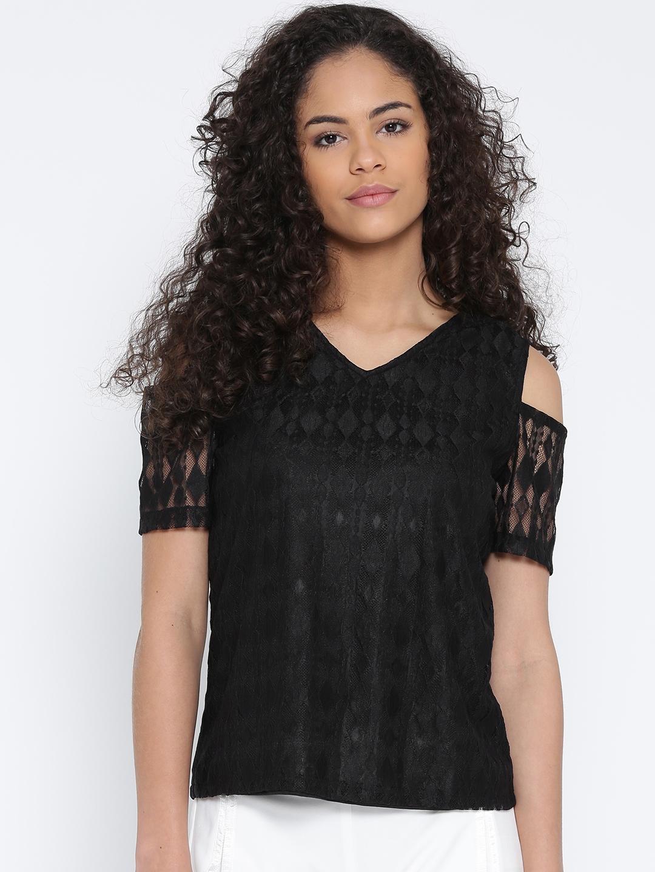 f1f5e23fc367d Buy 109F Women Black Cold Shoulder Lace Top - Tops for Women 1785155 ...