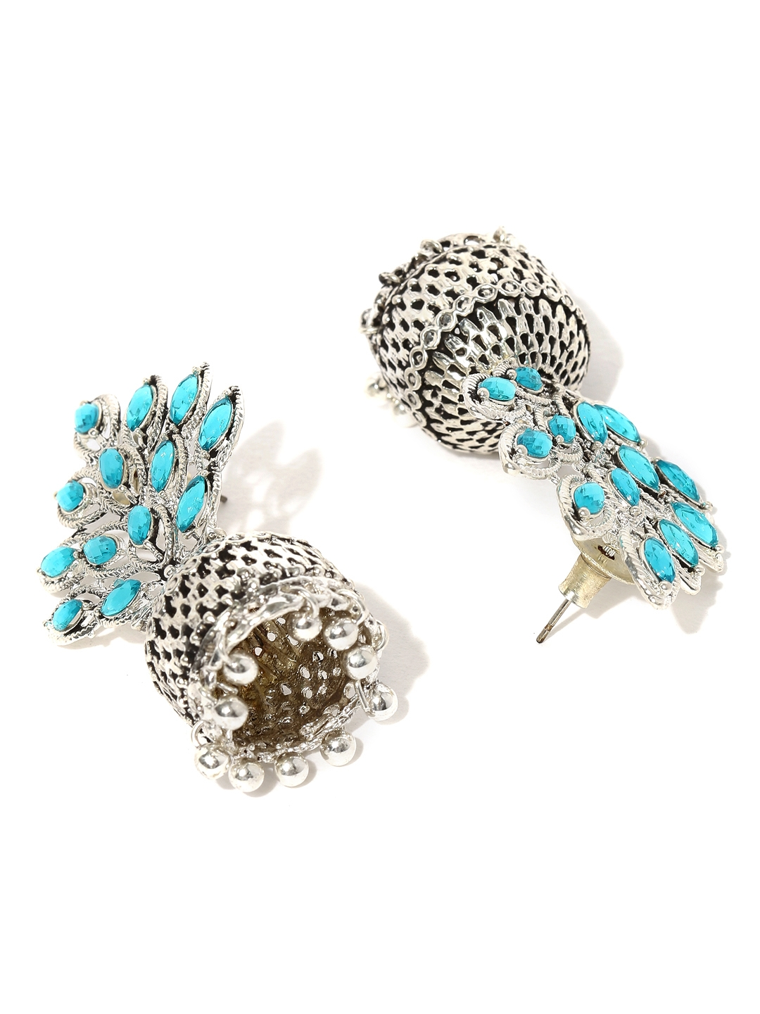 bde784a4655 Buy Zaveri Pearls Turquoise Blue Oxidised Silver Plated Jhumkas ...