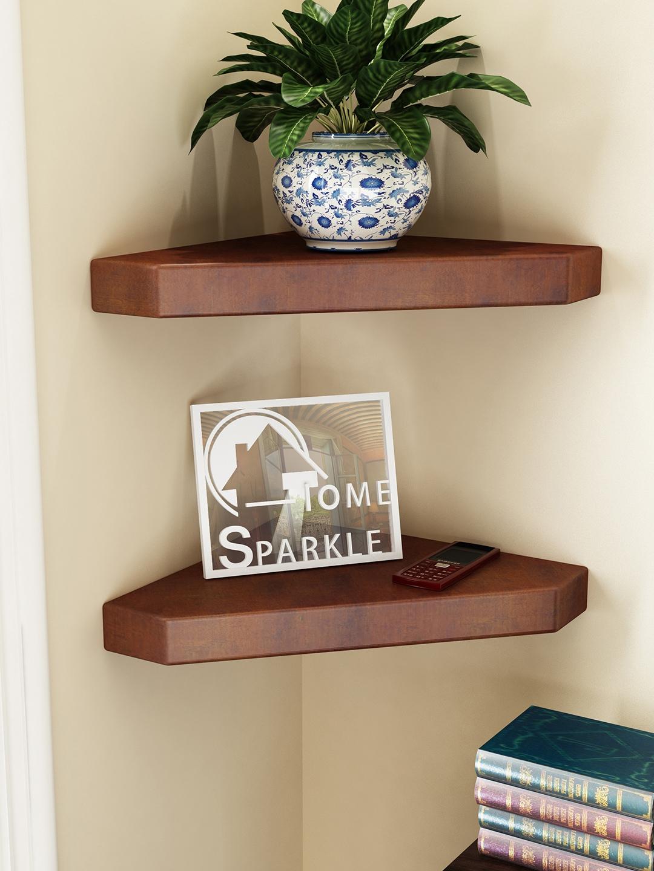 Home Sparkle Set of 2 Brown Corner Wall Shelves